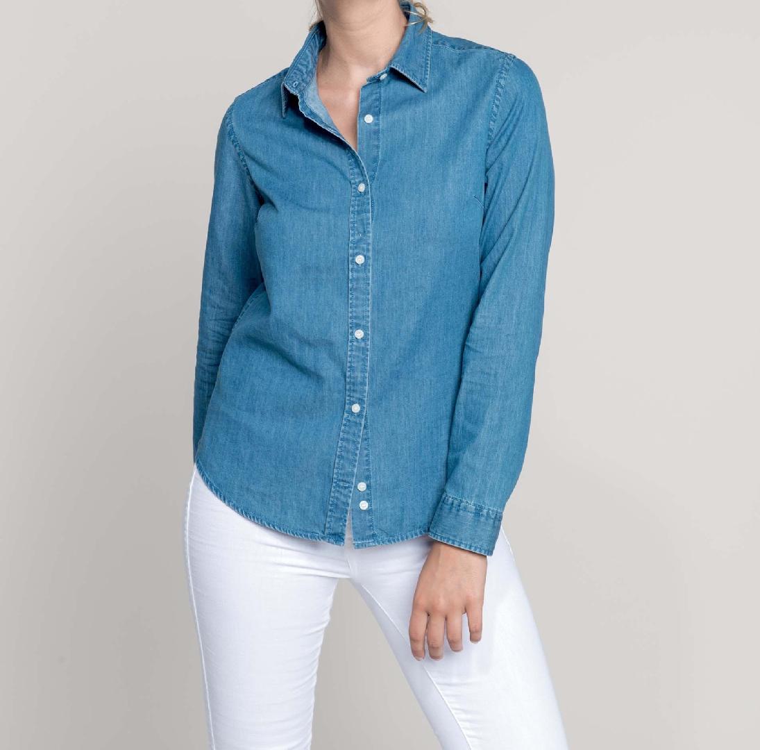 Camisa Senhora tecido efeito ganga de manga comprida - Seia