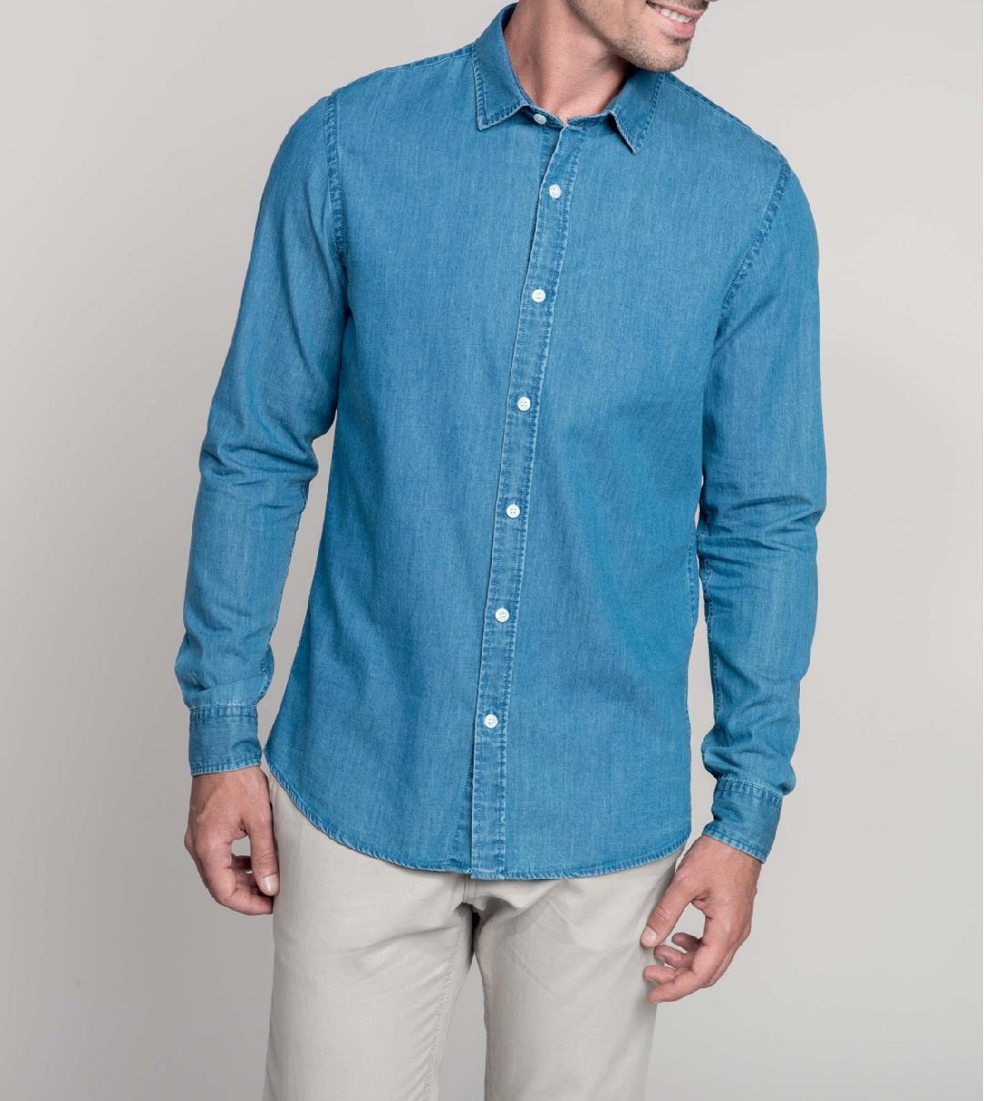 Camisa Homem tecido efeito ganga de manga comprida - Seixal
