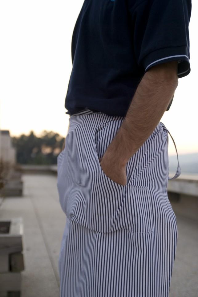 Avental Unissexo de cintura anatómico de riscas