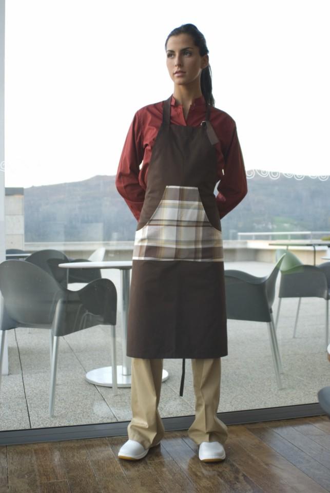 Avental Unissexo de peito com bolso em xadrez