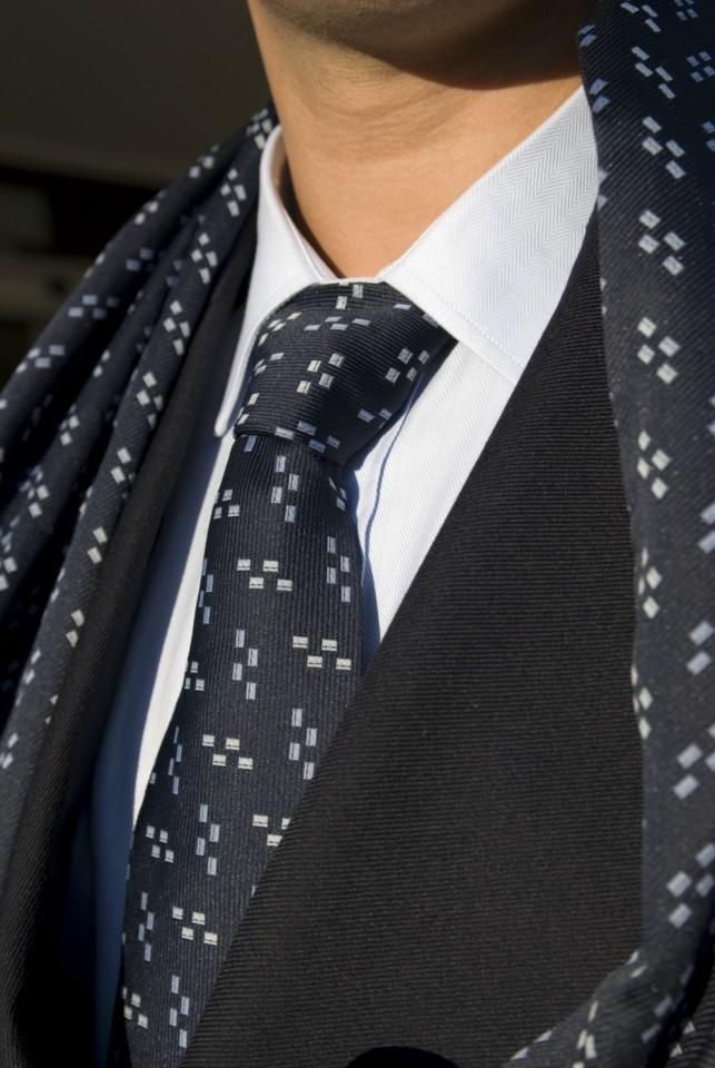 Gravata Homem padrão rectângulos - Azul marinho