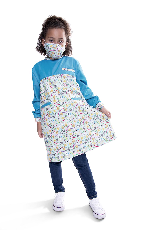 Túnica / Bata de Criança anti-microbiana, com padrão de animais - Batalha