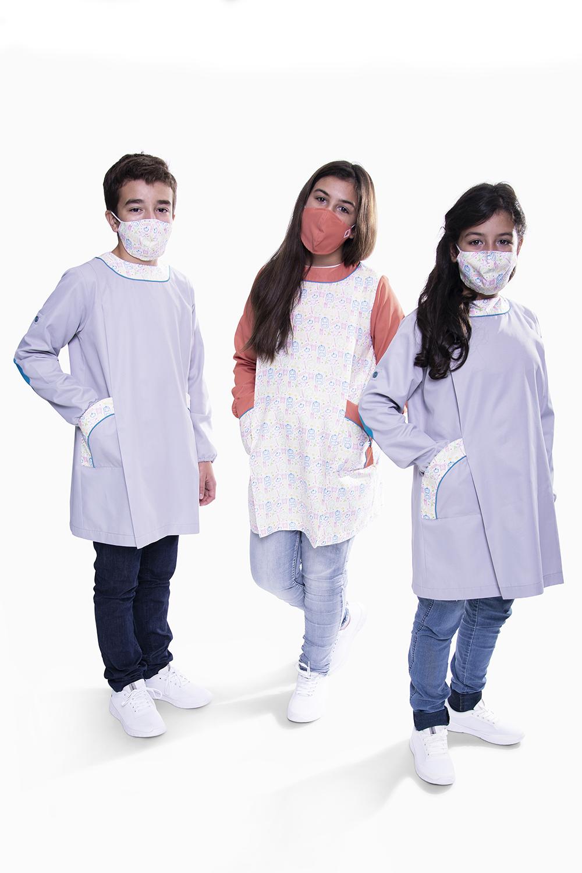 Túnica / Bata de Criança anti-bacteriana com detalhes em padrão escola - Benavente