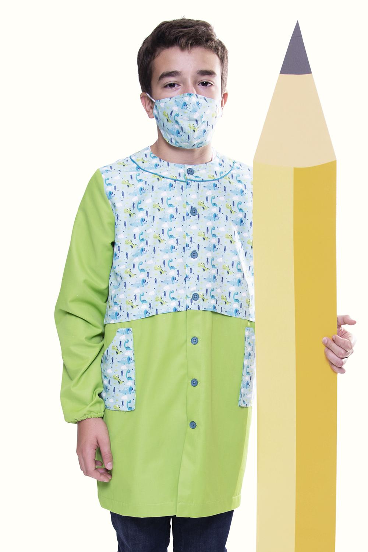 Túnica / Bata de Criança anti-bacteriana com padrão Dinossauros - Ribatejo