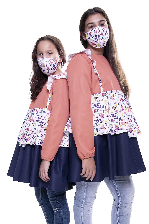 Túnica / Bata de Criança anti-bacteriana padrão Borboletas - Benedita