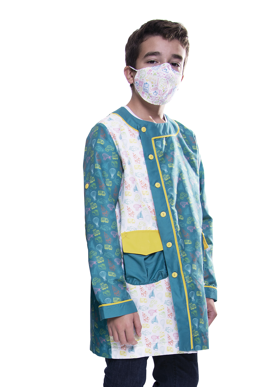 Túnica / Bata de Criança anti-bacteriana com padrão de transportes - Belmonte